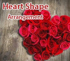 Heart Shape Flowers Arrangement India
