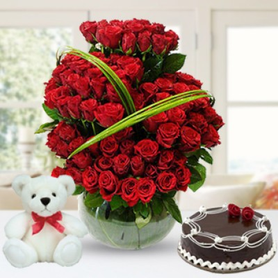 Flowers, Cake  & Teddy Bear