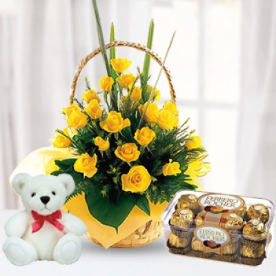 Flowers,Chocolate& Teddy