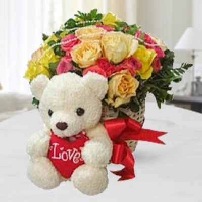 Mixed Roses & Teddy