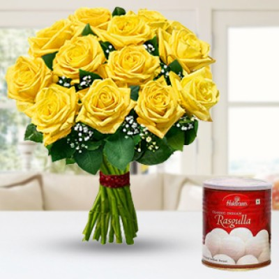 Yellow Roses N Rasgullas