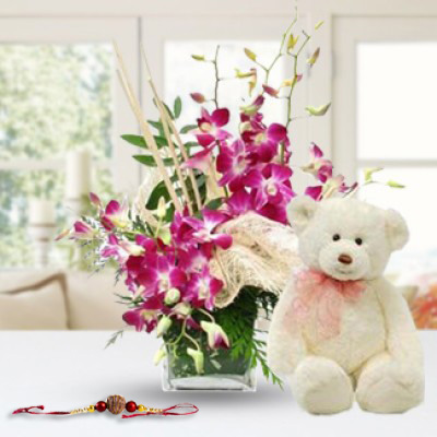 Flowers & Teddy & Rakhi