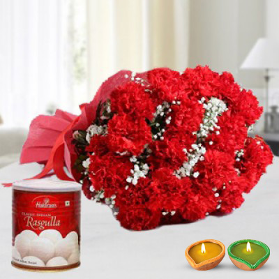 Red Carnations & Rasugulla