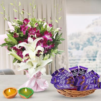 Orchid, Lilies & Chocolates
